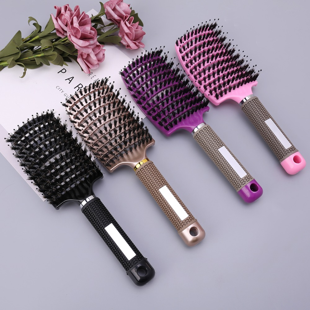 Salon Professional Bristle & Nylon Hairbrush Hair Combs Scalp Massage Comb Wet Curly Hair Brush Hairdressing Styling Tools #11(China)