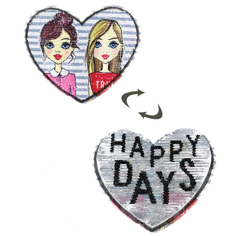 Patch deal with it clothes t shirt women stickers Girls Happy Days Reversible change color sequins heart patches for clothing image
