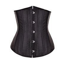 New Sexy Gothic Satin Lingerie Corset Top + G-string Steel Boned Bustier Lace Up Mini Outfit Costume Women Black Korsett