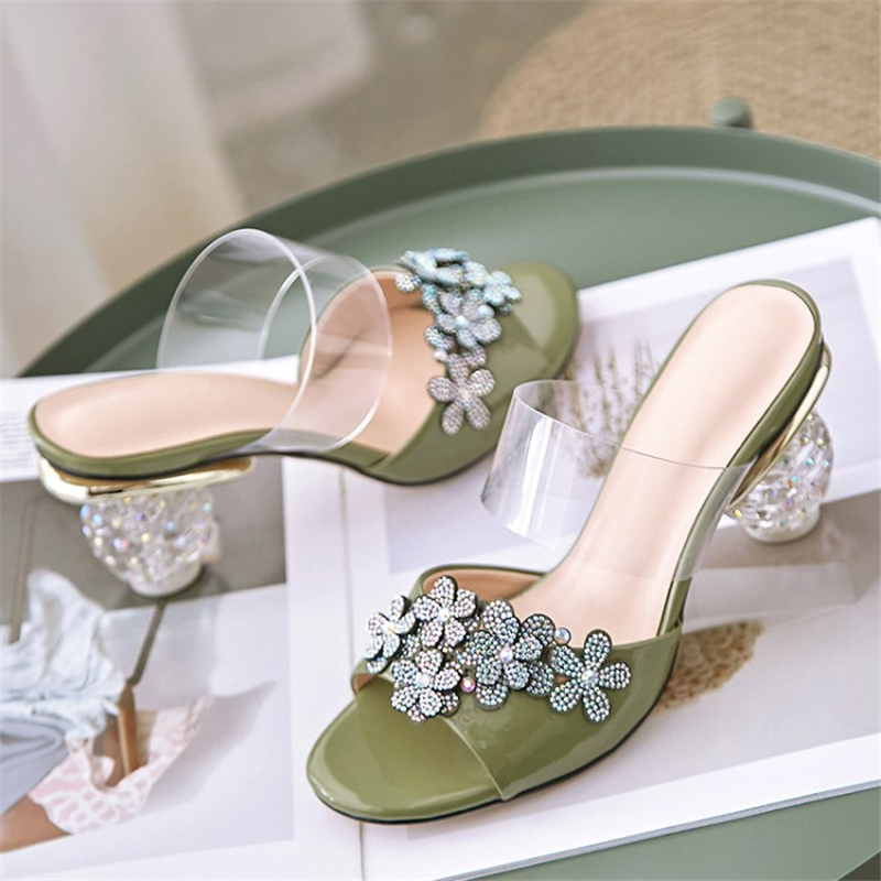 MSSTOR Crystal Appliques Summer Slippers White Genuine Leather Fashion Casual Women Shoes High Heel Peep Toe Slippers Women