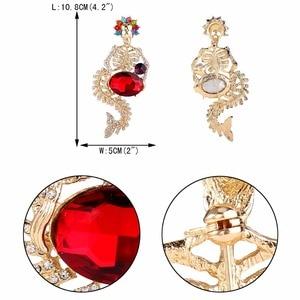 Image 5 - Tuliper Хэллоуин Русалка Скелет брошь череп для женщин заколки Кристаллы Вечерние ювелирные изделия подарок Broche Femme