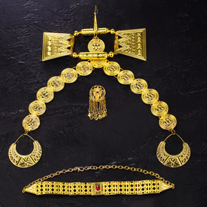 Image 5 - Ethlyn 2019 Latest Gold Color Red Stone Women Eritrean Ethiopian Traditional Wedding Jewelry Sets S112C