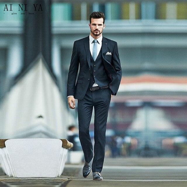 Men Suit Tuxedos Classic Fit Wedding Groomsmen Suit Red Carpet ...