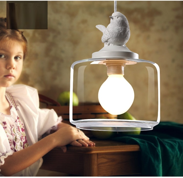 LuKLoy Resin Bird Pendant Lamp Light Nordic Glass Lights Lighting for Loft Kitchen Dining Room Ceiling Bedroom Decoration (9)