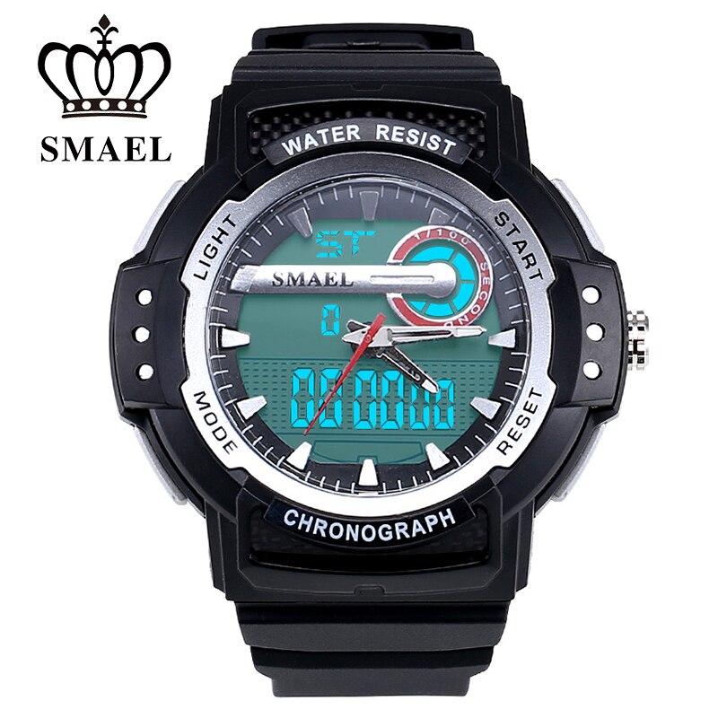 d7240cccb39c Deporte Relojes Hombres LED Digital Dual Time Reloj Hombre Reloj 50 M Impermeable  Reloj de Cuarzo Ocasional Militar Del Ejército Del Reloj de Regalo WS1503  ...
