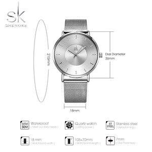 Image 5 - Shengke Simple Women Watches 2020 Ladies Wristwatch Ultra thin Quartz Watch Woman Sliver Ladies Watch Relogio Feminino SK