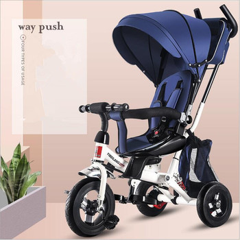 цена на Infant Child Tricycle Bicycle Folding 1-3-5 Years Old Rotating Seat Baby Stroller 3 in 1 Three Wheels Child Stroller Bicycle