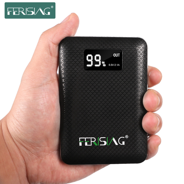 FERISING Power Bank 10000mAh 18650 Powerbank LED Display 3 USB Portable Charger External Pover Battery for Xiaomi Mobile Phones