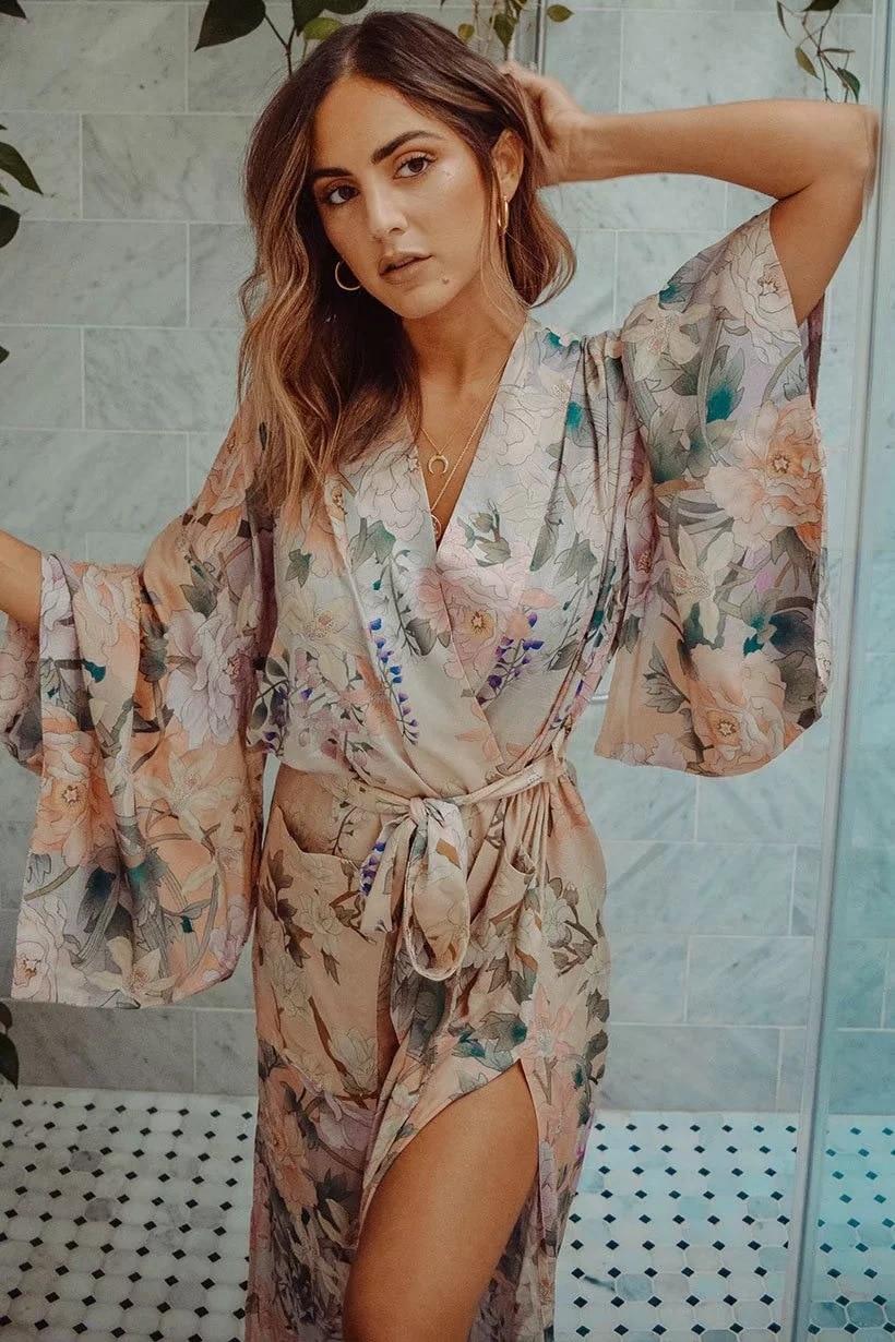 2afe6860b Women's Bohemian kimono open stitch floral printing boho long dress belt  fashion chic dress old style ethnic vestidos de fiesta-in Dresses from  Women's ...