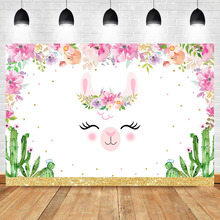 Cute Rabbit Backgdrop Animal Baby Shower Party Photo Background Pink Flower Cactus Dessert Table Decorations Props