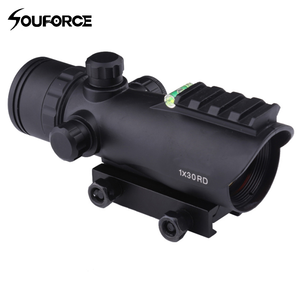 Tactical 1X30 Rifle Scope Adjustable Red Green Optical Sight With Spirit Bubble Level Fit 20mm Rail Mount for Airsoft Hunting