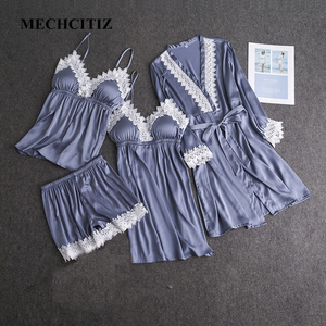 Image 1 - MECHCITIZ 2019 delle nuove donne robe abito set di primavera raso di seta accappatoio degli indumenti da notte abito corto rappezzatura del merletto veste da notte set