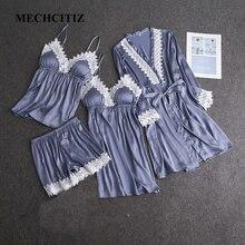 MECHCITIZ 2019 nouveau femmes robe ensembles printemps soie satin peignoir vêtements de nuit robe courte dentelle patchwork robe ensemble de vêtements de nuit