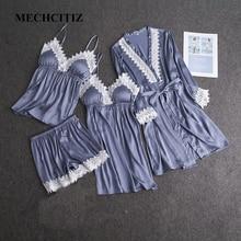MECHCITIZ 2019 חדש נשים של חלוק שמלת סטי אביב משי סאטן חלוק רחצה הלבשת שמלה קצרה תחרה טלאי robe nightwear סט