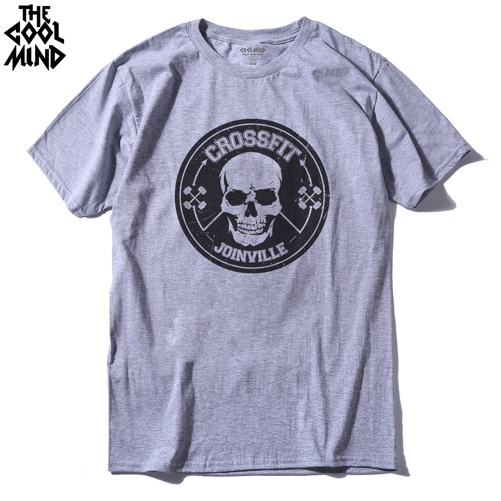 COOLMIND CR0112A Cotton O-neck Skull Crossfit Men T Shirt Casual Short Sleeve Summer Men Tshirt Cool Knitted T-shirt Tee Shirt