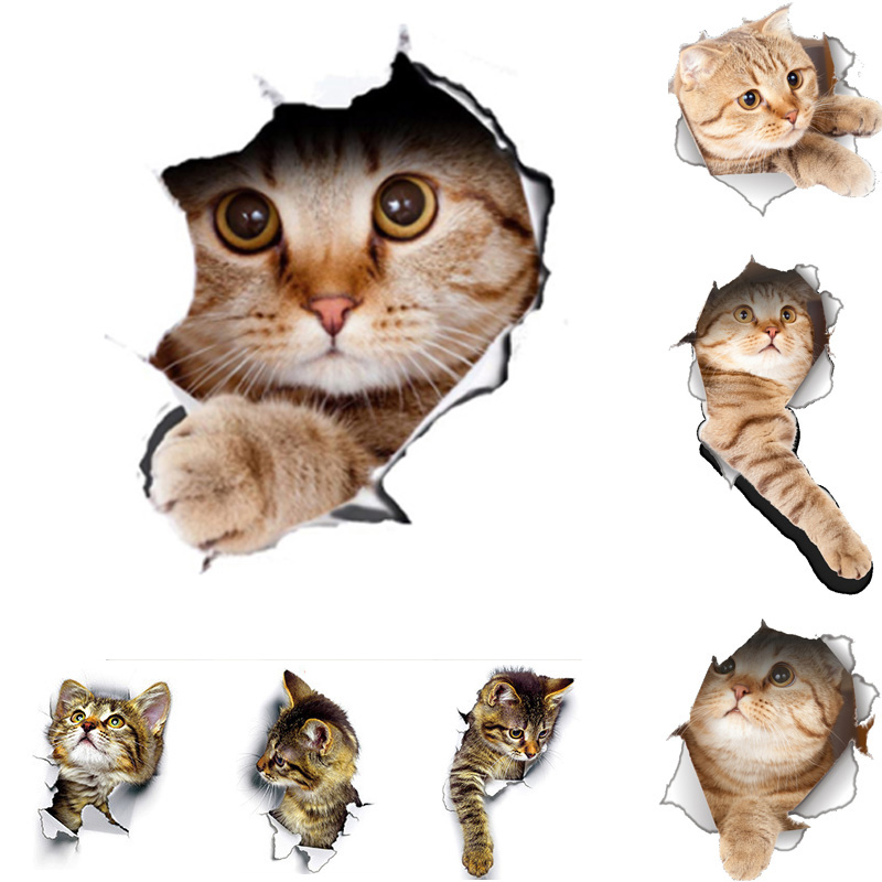 Cats 3D Wall Sticker Toilet Stickers Hole View Vivid Dogs Bathroom for Home Decoration Animals Vinyl Decals Art Sticker poster(China)