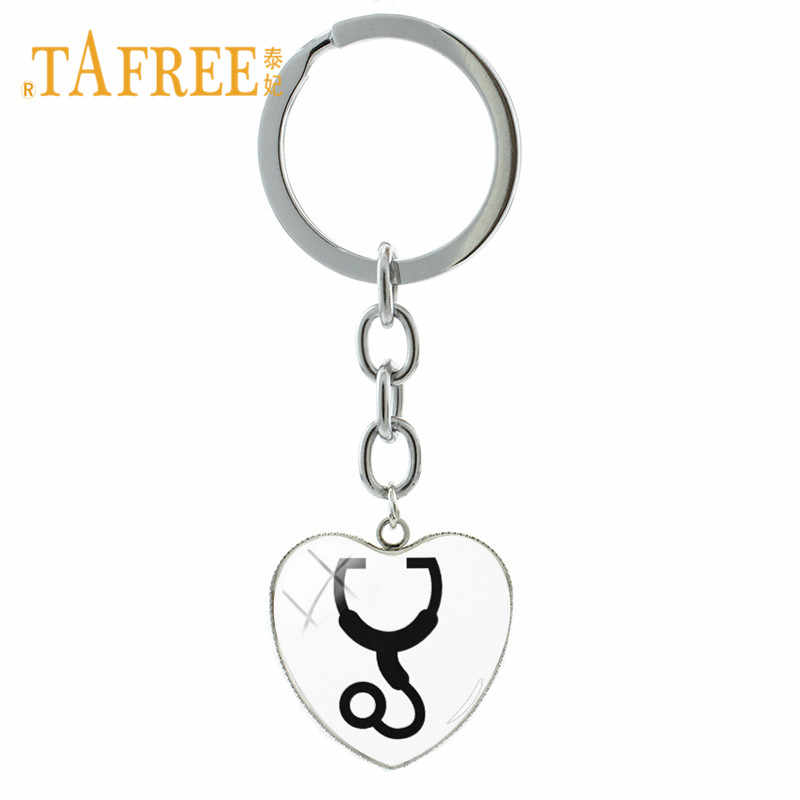 TAFREE Stethoscope Charms Key Chain Ring Heart Pendant Doctor Nurse Physicians Medical Student Graduation Gift Jewelry SE72