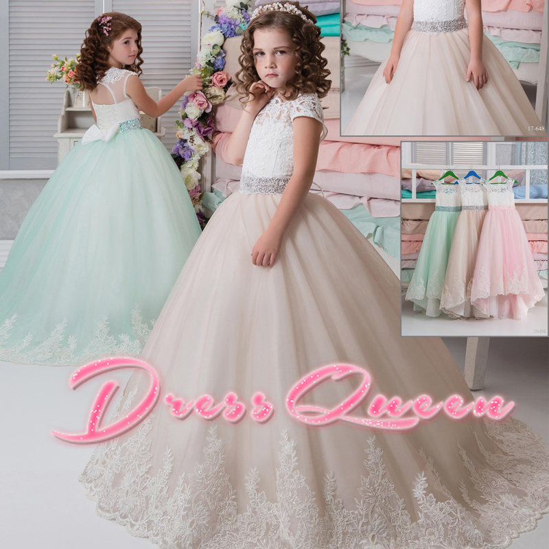 2017 New Applique Flower Girl Dresses For Weddings Lace Sleeveless Crystal Belt Ball Gown Pageant Communion Gowns Vestidos Longo 2017 royal blue flower girl dresses for weddings v neck ball gown lace tulle little girl pageant dress party gown vestidos longo