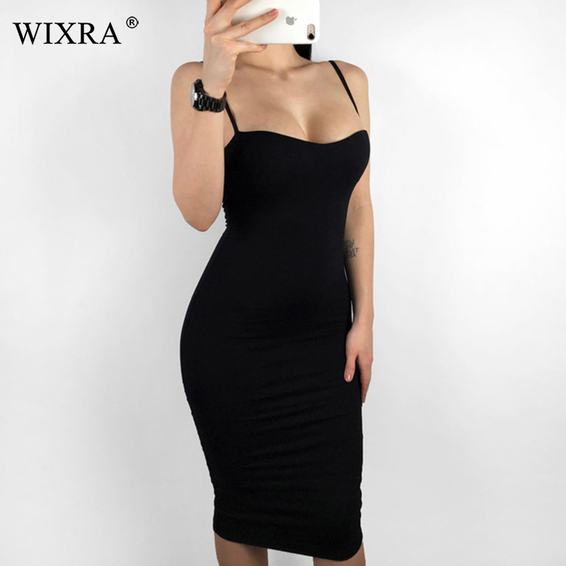 Wixra 2019 New Double Layers Cotton Sexy Bodycon Dress Women Summer Backless Knee-Length Elastic Spaghetti Strap Party Dresses