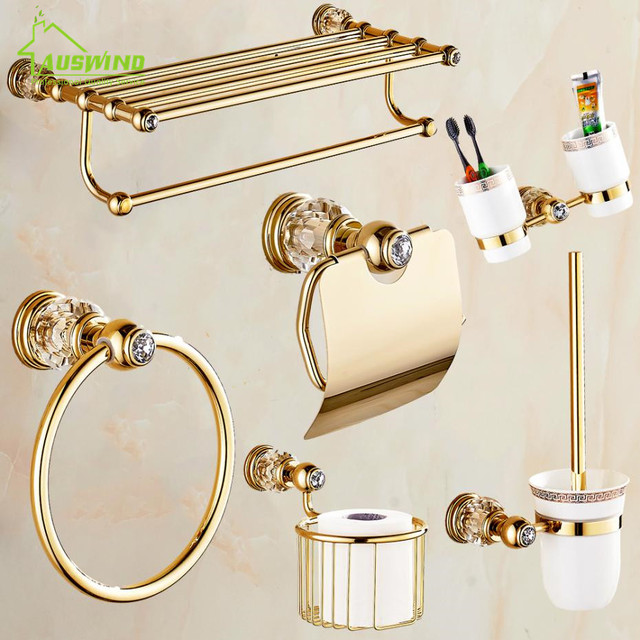 European Gold Bathroom Hardware Set Antique Crystal Bathroom Accessories  Wall Mounted Polish Finish Brass Bathroom Products