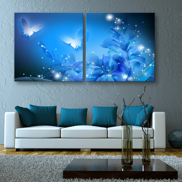 Delightful Free Shipping Stretched Canvas Prints Shining Butterfly LED Flashing  Optical Fiber Print LED Wall Art LED