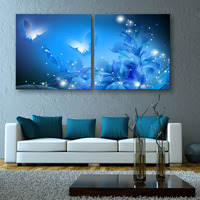 Free Shipping Stretched Canvas Prints Shining Butterfly LED Flashing Optical Fiber Print LED Wall Art LED Decorations