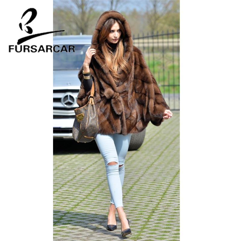 Image 3 - FURSARCAR Women Real Fur Coat New Fashion Bat Sleeved Thick Warm Mink Fur Coat With Hood Winter Luxury Female Nature Fur Jacket-in Real Fur from Women's Clothing