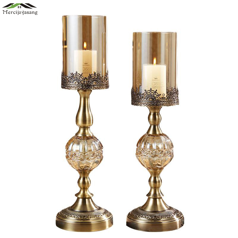 Glass Metal Votive Candlestick European Style Romantic Candle Holders for Wedding Dinner Birthday Decoration Candelabra GZT017