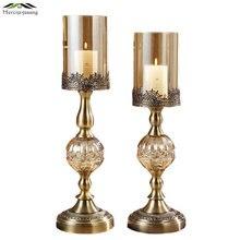 Glass Metal Votive Candlestick European Style Romantic Candle Holders For Wedding Dinner Birthday Decoration Candelabra GZT017