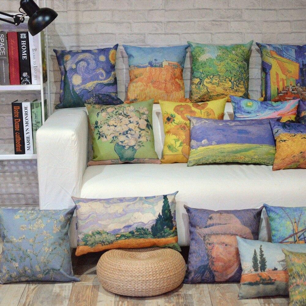 Van Gogh watercolor Oil painting series 9980 Linen Pillow
