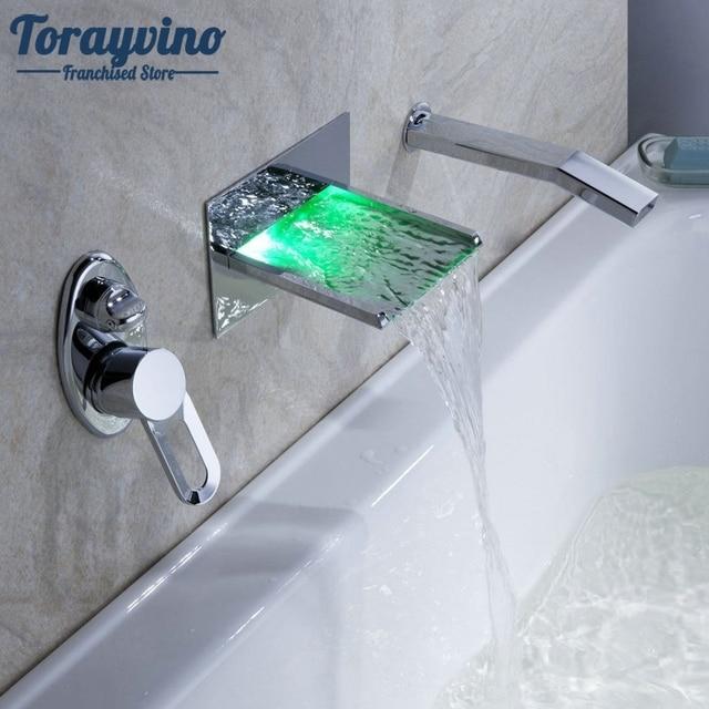 Wall Mounted Waterfall Faucets Mixers Water Power LED Basin Mixer ...