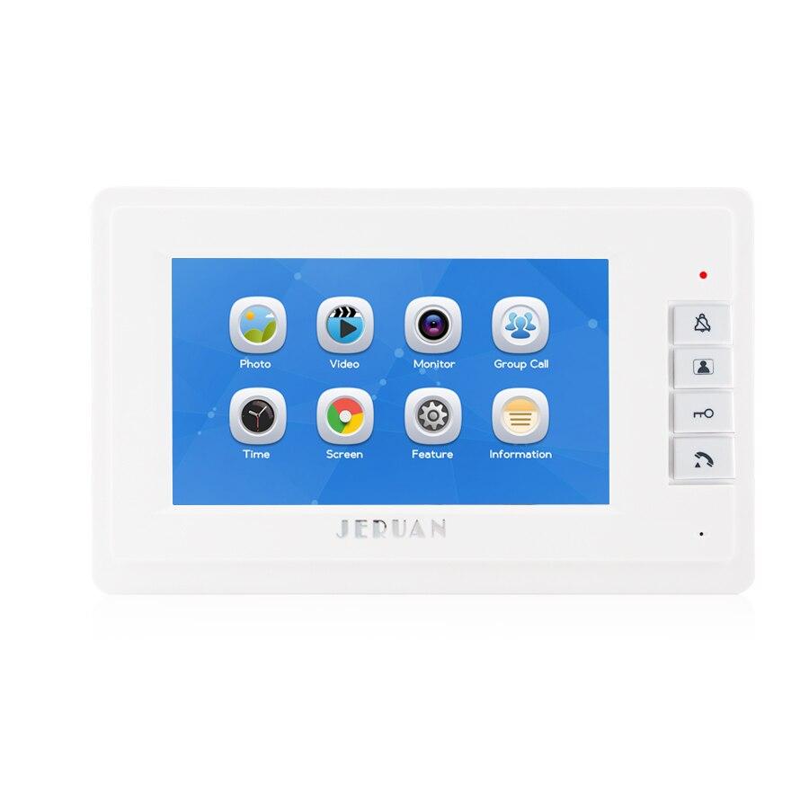 JERUAN 7`` Video Doorbell Voice/Video Recording Intercom System kit 2 monitors + Waterproof password Access Mini Camera +E-lock