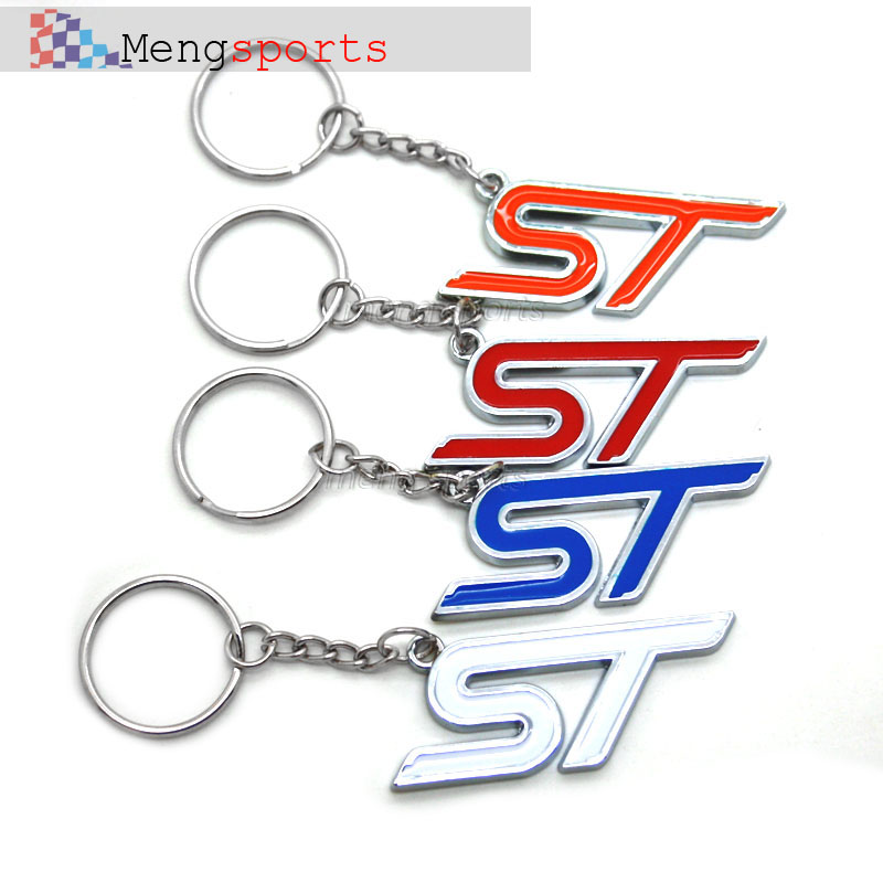 20pcs Good Metal Leather For ST Red Blue Orange White Car Keyring Key Chain airmail free