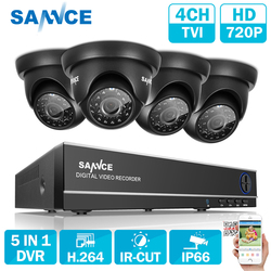 SANNCE 4CH CCTV SYSTEM 5 in 1 TVI HDMI DVR 1.0 MP IR Outdoor Weatherproof CCTV Camera Home Security System Surveillance Kits