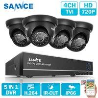SANNCE 4CH CCTV Системы 5 в 1 TVI HDMI DVR 1,0 Мп ИК Открытый всепогодный CCTV Камера охранных Системы наблюдения Наборы
