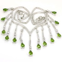 Hot Sell Green Peridot White CZ Woman's Wedding 925 Silver Necklace 18 18.5in 118x46mm