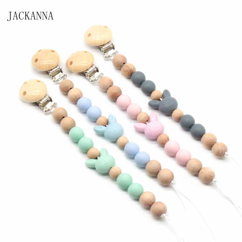DIY Baby Dummy Clips Cute Rabbit Beads Baby Soother Clip Infant Attache Sucette BPA Free Newborn Baby Pacifier Holder Chains