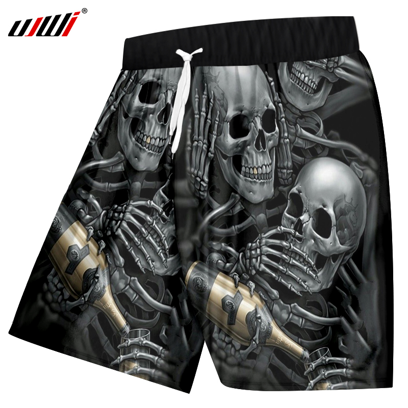 Summer Casual Shorts Men Cool Print Skeleton Skull Champagne 3 D Shorts
