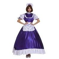 Sissy Girl Maid Frilly Purple Lockable Long Dress Crossdress Cosplay Costume