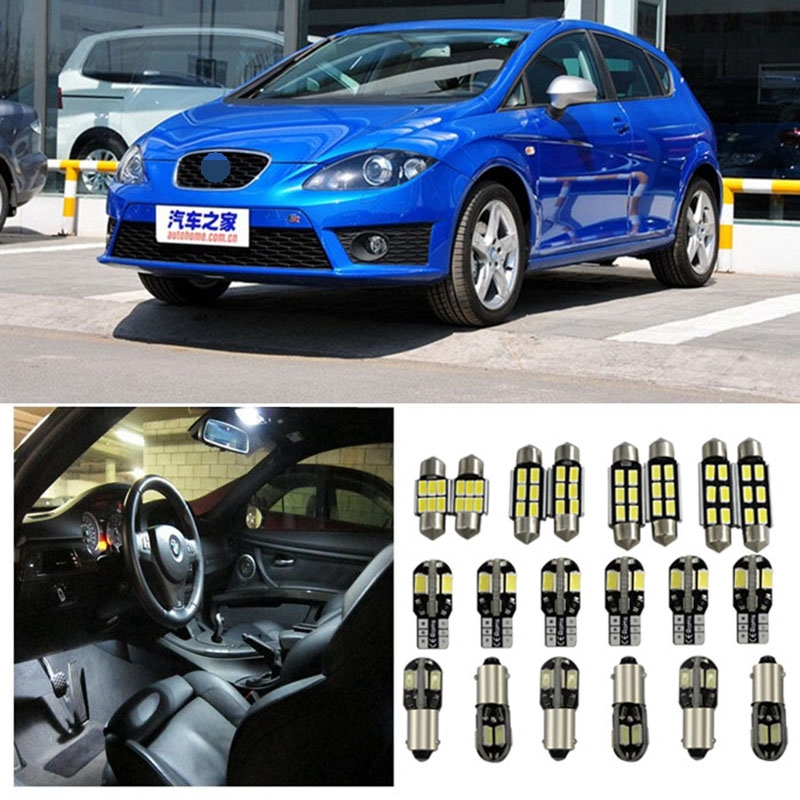 Tcart 8pcs Error Free Auto LED Bulbs Car Interior Lighting Kit White Reading Lamp Indoor Lights For Seat Leon accessories 2 3 fr pair of stylish round alloy stud earrings for women