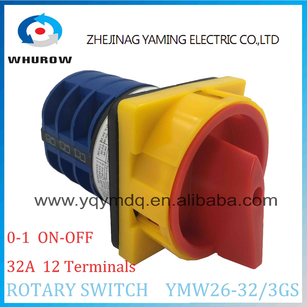 LW26 YMW26-32/3GS Rotary switch 2 postion (OFF-ON) padlock 690V 32A 3 pole 12 terminal universal changeover cam main switch 660v ui 10a ith 8 terminals rotary cam universal changeover combination switch