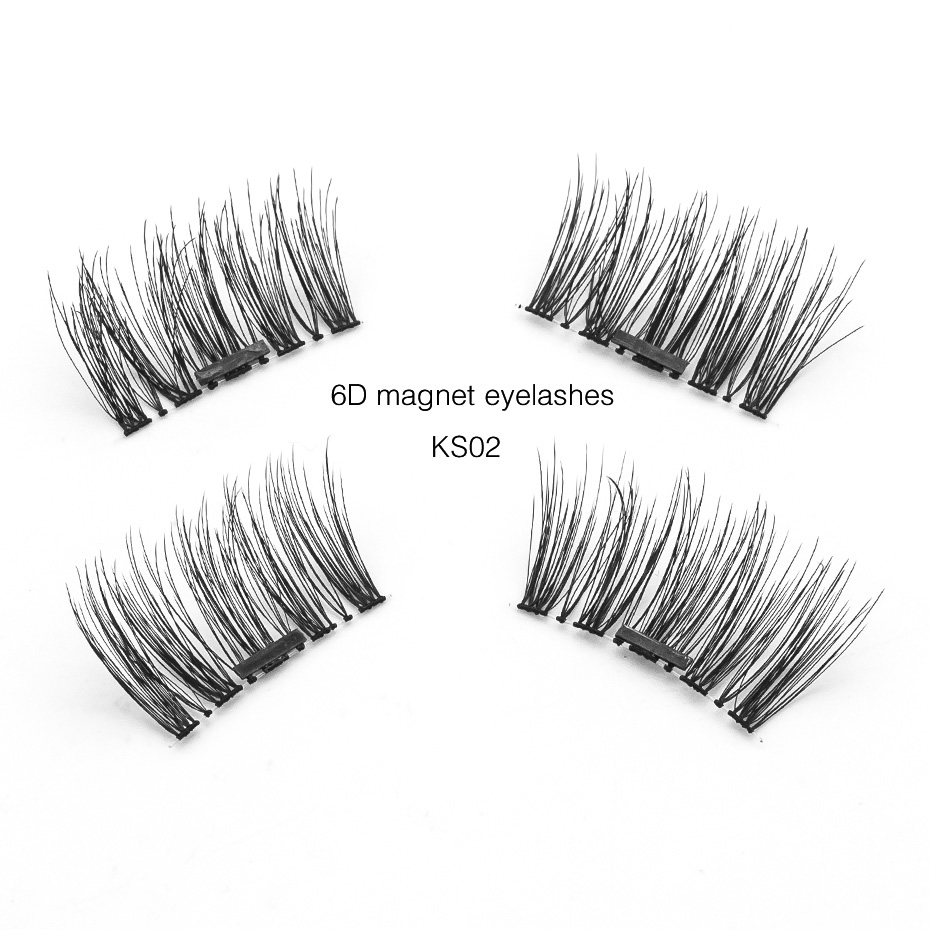 Genailish Magnetic Lashes Reusable 6D Magnet Eyelashes Soft 4 Pcs 1 Pairs Fake Eyelashes Eye Lashes with box for Makeup KS02