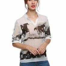 2ded7fb3a3dbcf 2018 Vintage Sexy Chiffon Blouses Black Ink Horses Print Shirts White V-Neck  Full Long