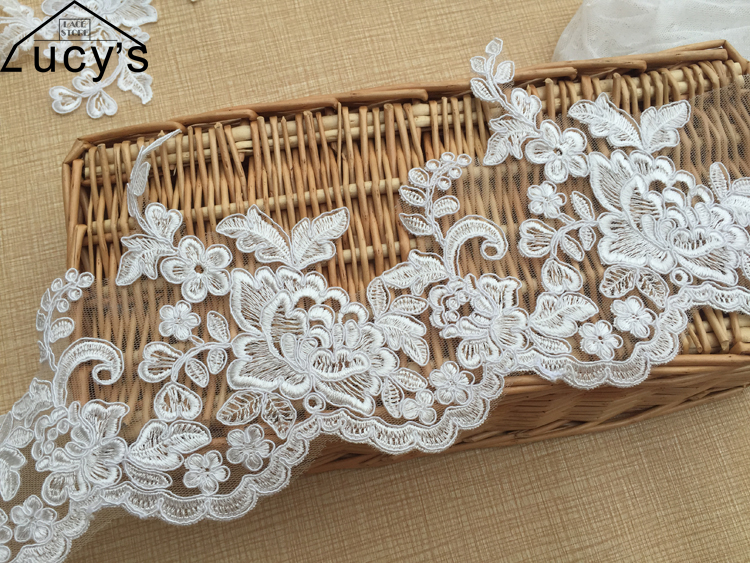 5yards latest design peony lace trim fine workmanship off white light ivory wedding lace trimming embroidery bridal veil lace