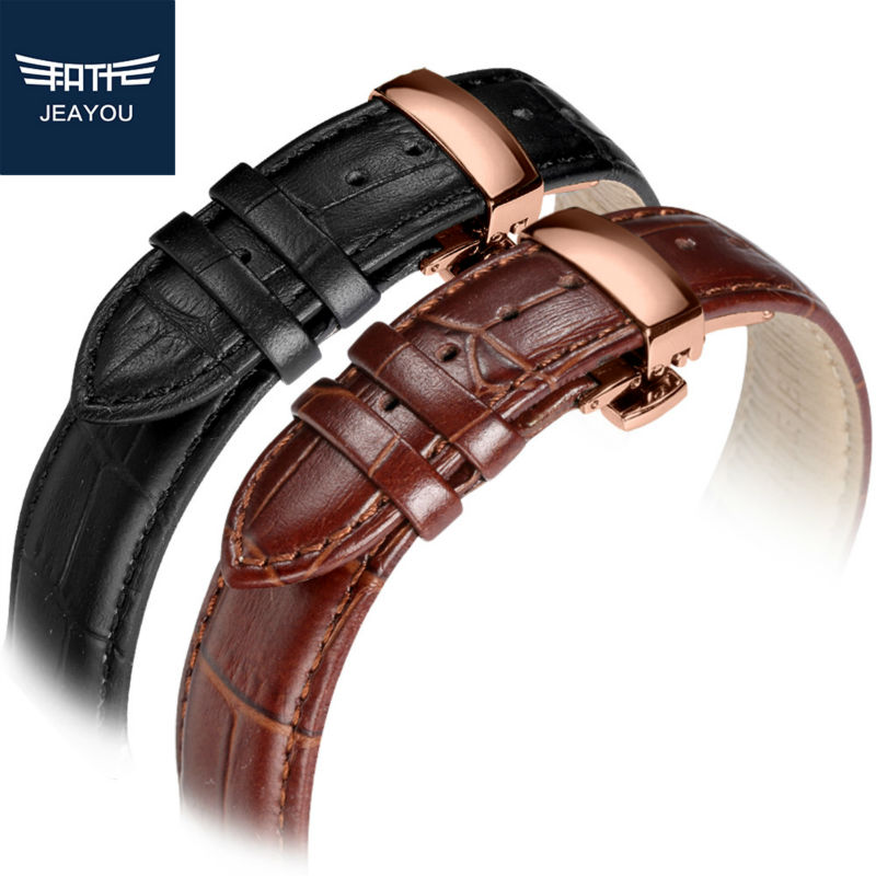 JEAYOU Genuine Leather Men <font><b>Watchband</b></font> Strap With Rose Gold Buckle For Tissot/Mido/Casio/<font><b>Seiko</b></font> <font><b>20mm</b></font> 22mm image