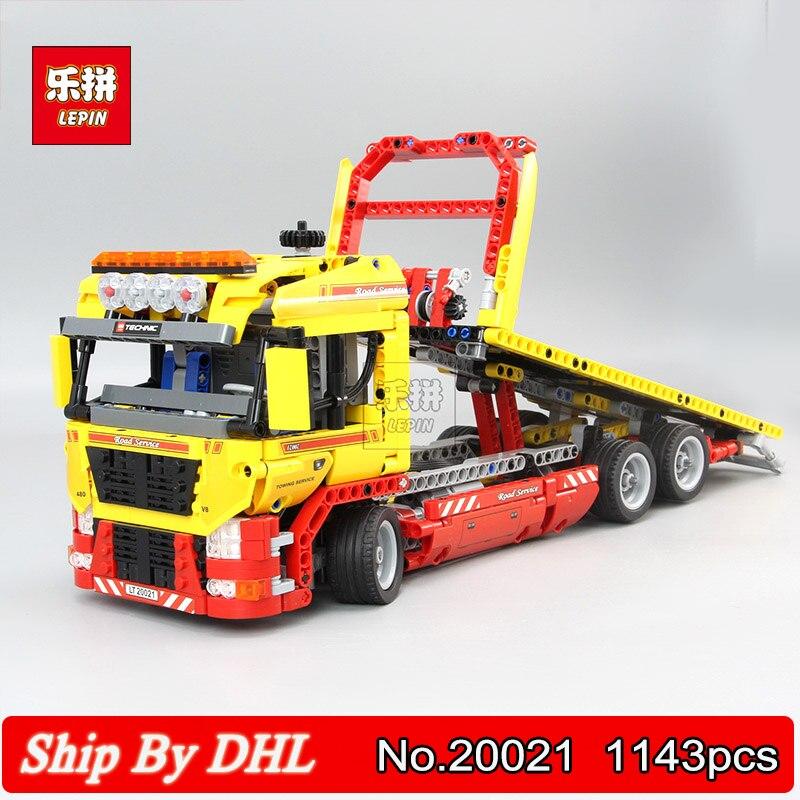 LEPIN 20021 technic series Flatbed Truck Transporter Building Block 1143pcs Bricks Kits Model Compatible Legoingly 8109
