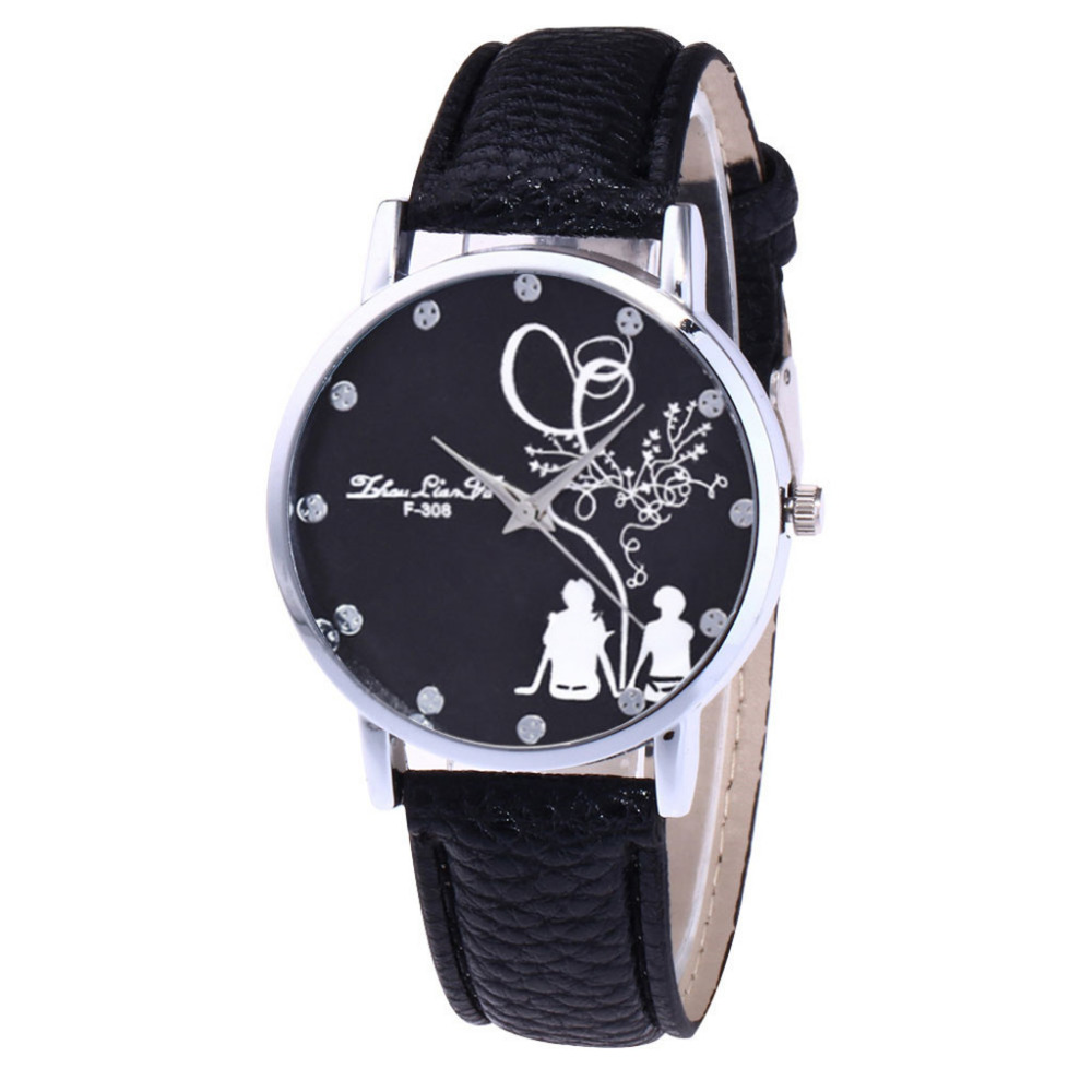 Zhoulianfa Reloj Women Fashion Large Dial Couple Pattern Printed Dial Watch Ladies Leather Sport Quartz WristWatch Clock Gift #WZhoulianfa Reloj Women Fashion Large Dial Couple Pattern Printed Dial Watch Ladies Leather Sport Quartz WristWatch Clock Gift #W