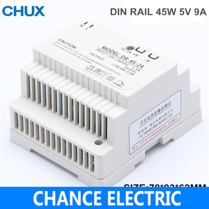 45w din rail mount switching power supply 5V Single Output AC LED input SMPS DR45-5v for cnc led light Direct Selling single output dc 24v 25a 600w switching power supply for led light strip 110v 240v ac to dc24v smps with cnc electrical equipmen