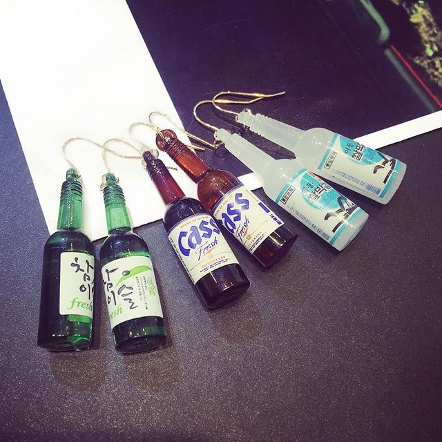 15 стили Южная Корея Бутылки Пива Серьги милый мультфильм Женские Девушки Мода Творческая Рот неправильной формы Серьги