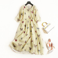 Cotton linen print loose a line dress 2018 new runway women summer dress high quality office lady beach party dress